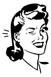 This is an illustration of a woman with a 1950s hairdo winking.