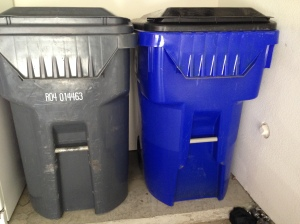 My shiny new recycling cart in its spot next to the trash. They make a cute couple!