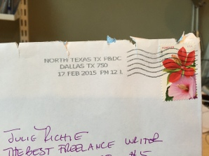 This is a picture of the outside of an envelope with my name and the words The Best Freelance Writer underneath, which left me feeling appreciated.