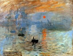This is Claude Monet's painting, Impression, Sunrise, featuring the harbor of Le Havre with the sunrise reflecting on the water amid boats.