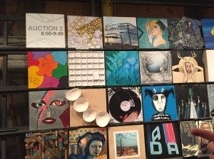 This is a photo of 18 by 18 inch art creations by Dallas artists participating in ArtCon11.